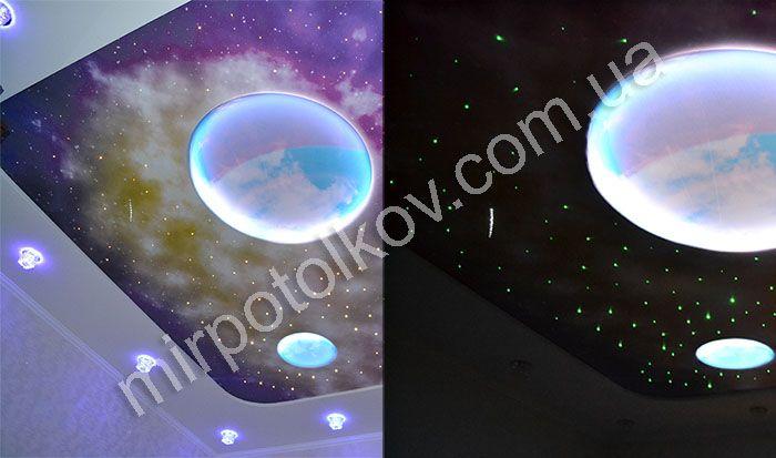 Звездный натяжной потолок со светящимися планетами.