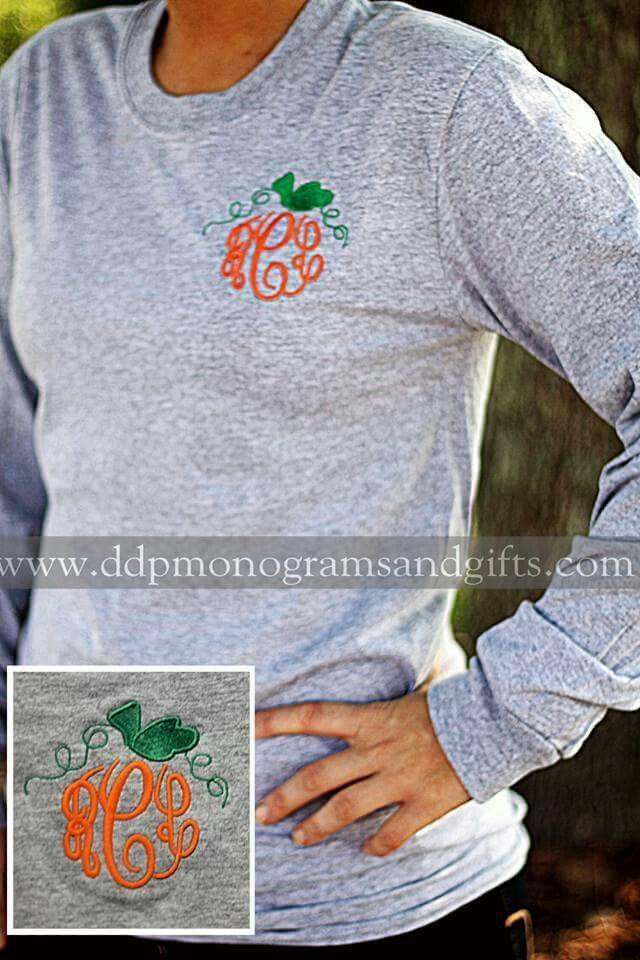 Embroidered pumpkin shirt