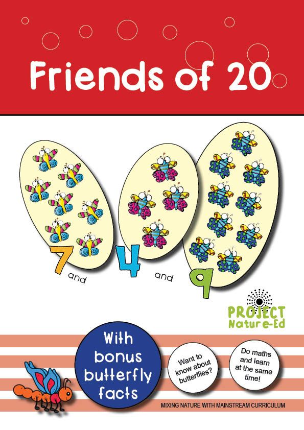 Get your students making 'Friends of 20' with this activity!  Students will be required to perform mental arithmetic (with the aid of concrete materials, such as counters and number lines if required) to determine three numbers that add up to twenty. Students are working with counting on strategies, even when working with three numbers. They count on to add the first two numbers together and then count on again to twenty.