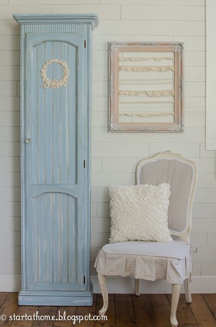 Can you believe this cabinet used to be an old curio with glass door and a mirror in back?  Head over to my blog to see how I transformed this beauty