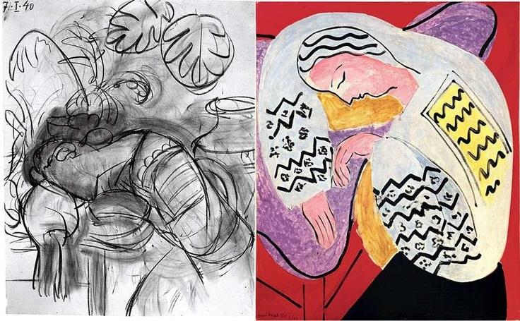 Foto que documenta el proceso de la obra de Matisse 'El sueño' (1940) junto a la pintura terminada. La pareja de trabajos forma parte de la exposición 'Matisse: In Search of True Painting' ('Matisse: en busca de la pintura verdadera'), que descubre el proceso creativo del pintor francés