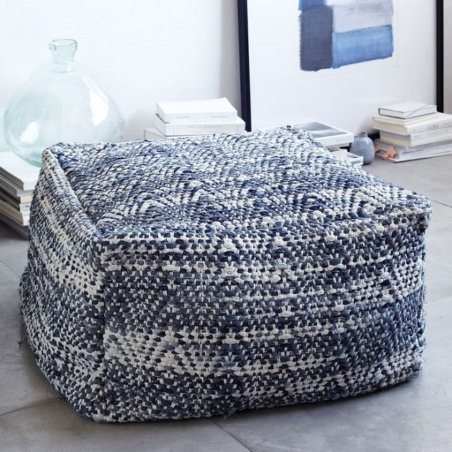 Pouf in denim West Elm