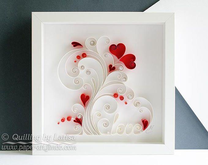 Quilling Wall Art Love Paper Art Wedding Gift Anniversary
