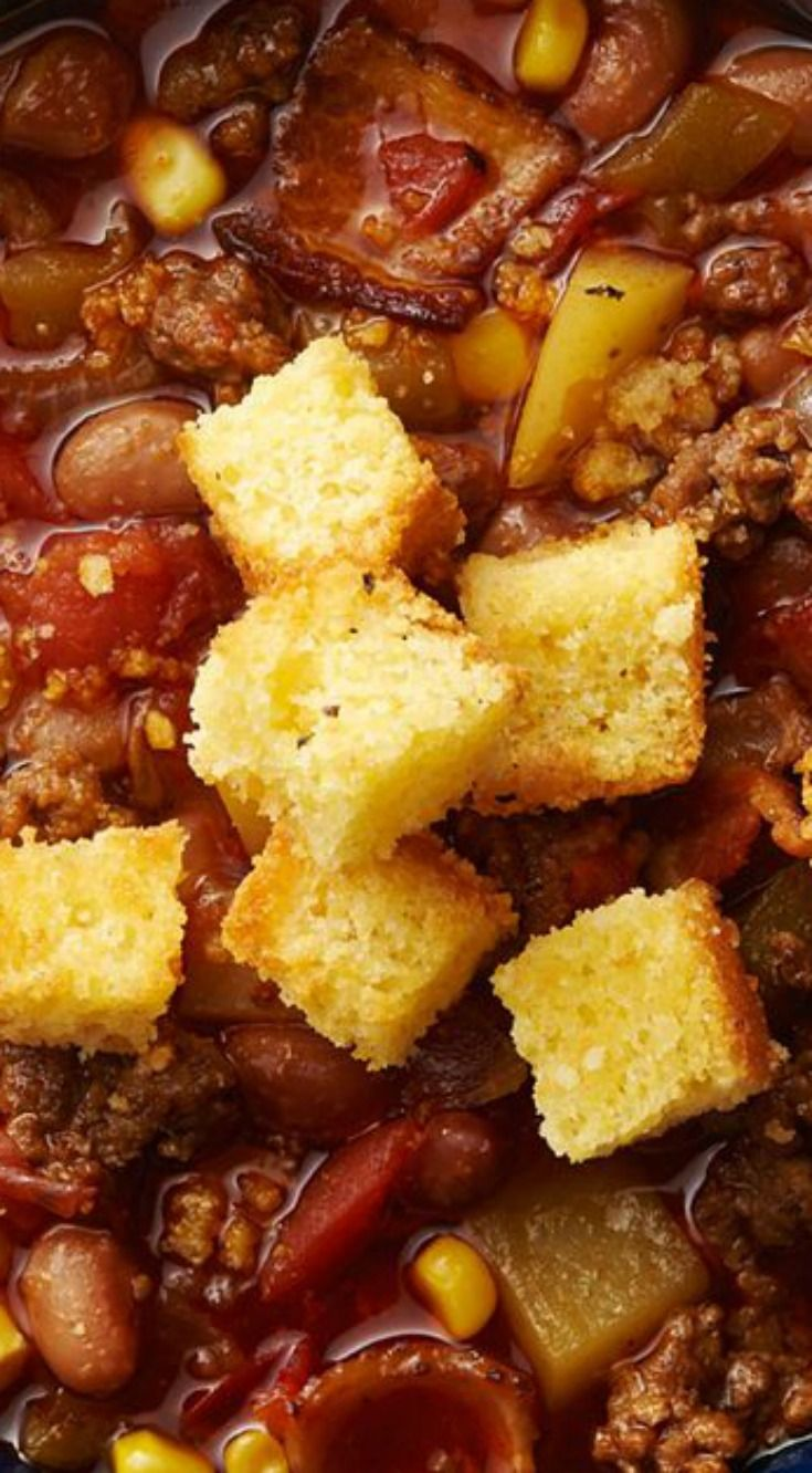 Slow-Cooker Cowboy Soup with Cornbread Croutons ~ Hearty and delicious!