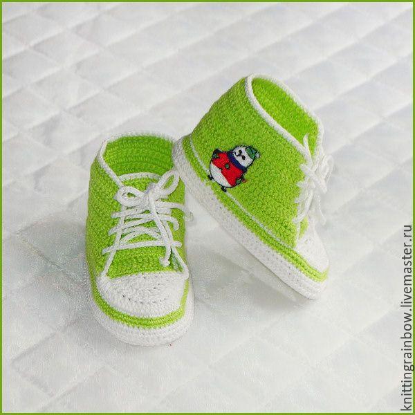 Купить Пинетки-кедики светло-зеленые - пинетки, пинетки для новорожденных, пинетки для девочки, пинетки в подарок