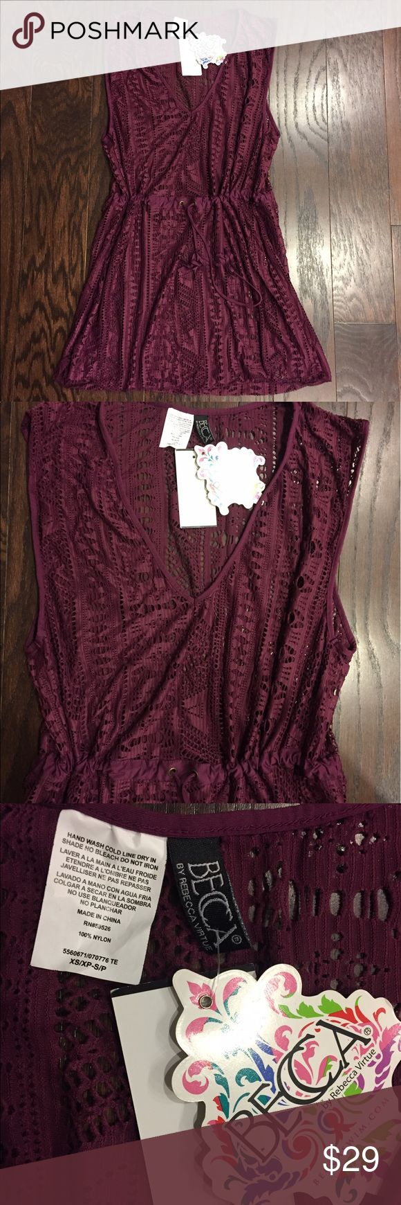 Becca Swim cover up, XS/S. NWT Becca by Rebecca Virtue Swim cover up. Burgundy crochet pattern as shown. Drawstring waist that ties in front. Size XS/S. New with tags! BECCA Swim Coverups