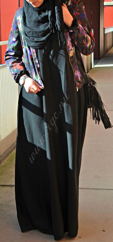 Black Abaya + Jacket #Hijab.