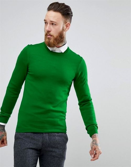 66c6a1f942af9a Muscle Fit Merino Wool Sweater In Green