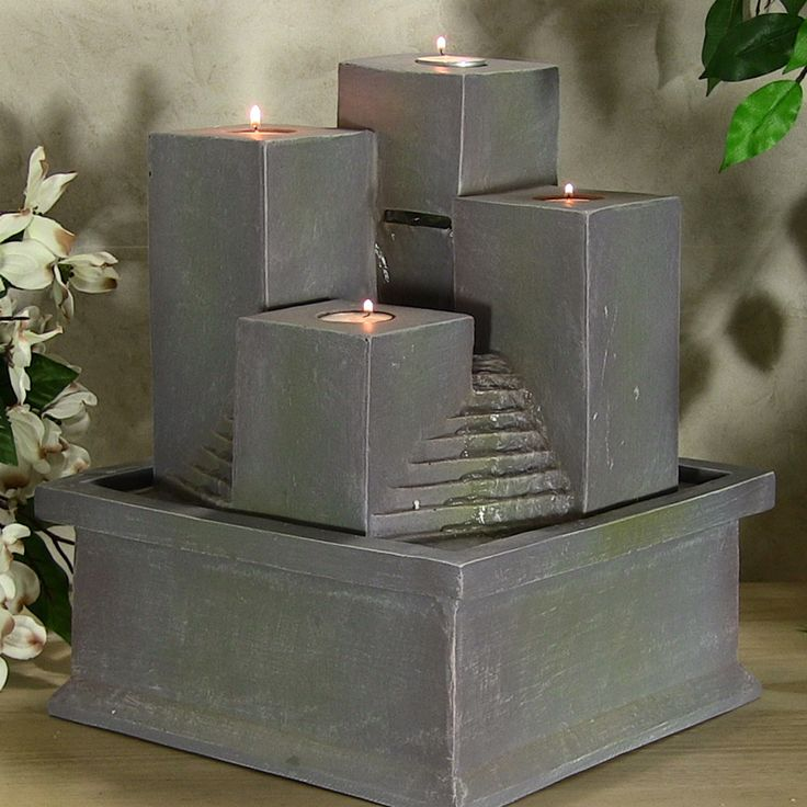 Combining The Beauty Of Fire And Water, This Indoor Tabletop Water Fountain  Or Outdoor Fountain Trickles Out Of The Back Pillar Down The Faux Stone  Steps, ...
