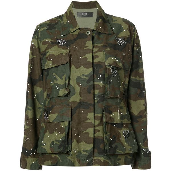 Amiri Military Jacket (1'085 CHF) ❤ liked on Polyvore featuring outerwear, jackets, cotton field jacket, army green jackets, field jackets, green jacket and green field jacket