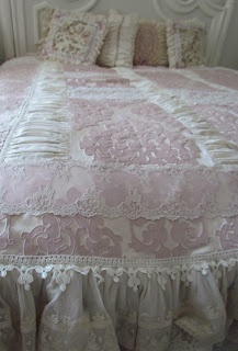 Angela Lace.  Love the lacy shabby chic bedskirt.