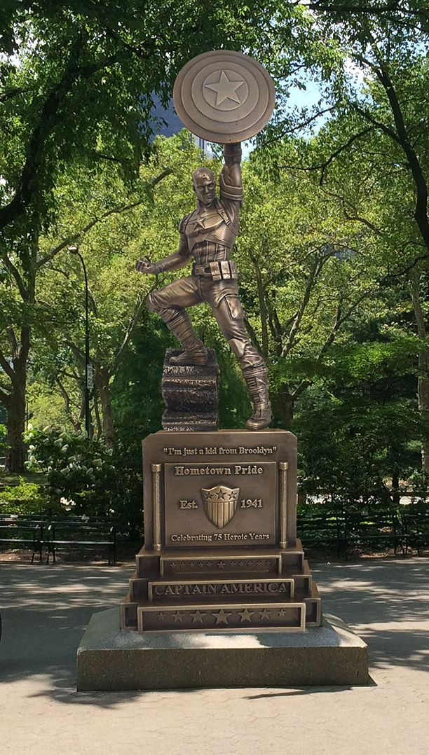 Fun fact about the recently announced, 13-foot tall statue of the Brooklyn's favorite (fictional son): It's not actually in Brooklyn at the moment.