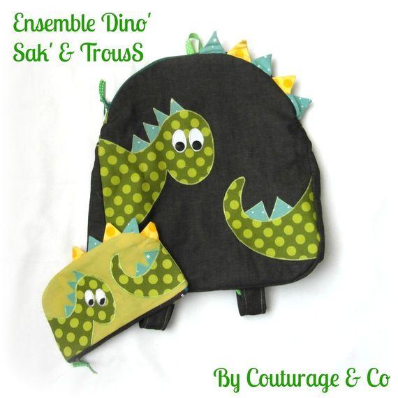 Ensemble Dino'/ Sac à Dos et Trousse pour Petit Enfant
