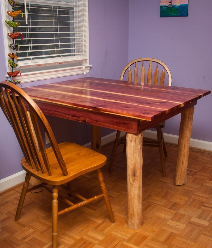 Hand crafted cedar dining room table made by simply for Dining room tables made from pallets