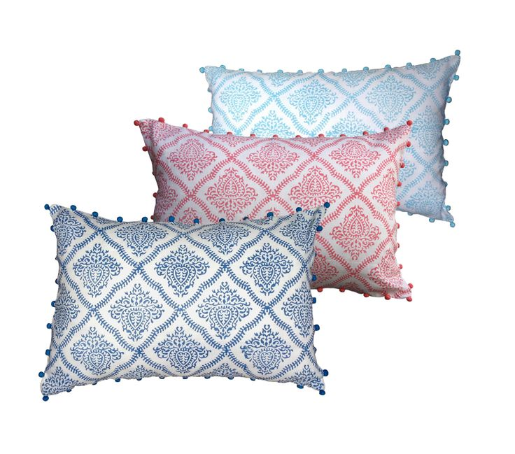 Handblock printed pastel bedroom cushions with pom poms, our new range at Shakiraaz, handblock printed on pure linen. www.shakiraaz.com.au