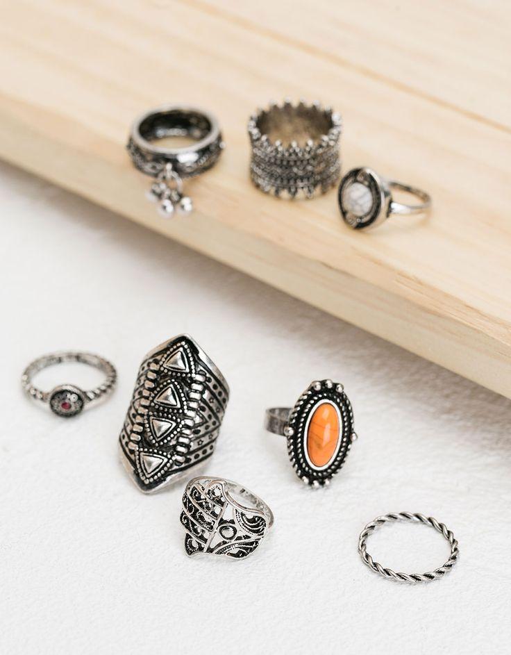 Bershka Portugal - Conjunto anéis boho com pedra