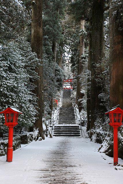 Snow in Hakone Shrine, Kanagawa, Japan