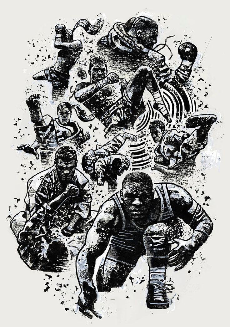 """Celebrating Disciplines"" Artwork for the official Reebok UFC Athlete Retreat 2017 shirt. Acrylic, Digital, 2017."