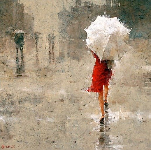 Use of chromatic grays to create a dreary and rainy atmosphere. The contrast of the white and red bring attention to the woman in the foreground and allow her to become a more noticeable subject in an other wise muted painting.
