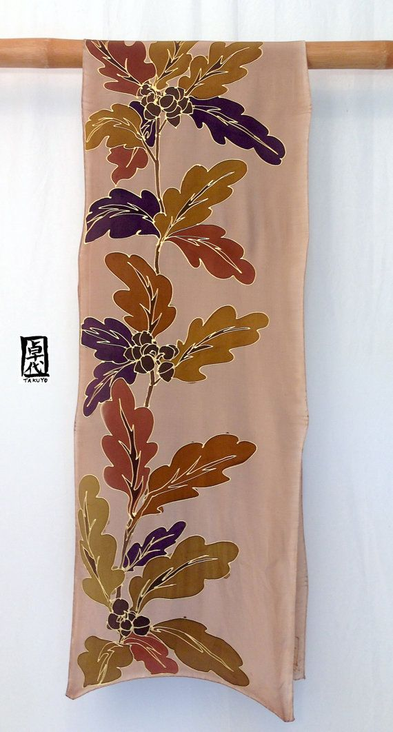 Mens Silk Scarf Handpainted, Mens Scarf, Japanese Scarf, Brown and Gold Oak Leaves Scarf, Silk Scarves Takuyo, 14x72 inches. This is a large Mens silk scarf, hand painted with dark brown, brown and outlined with gold. The timeless solid strength of oak trees is well expressed in