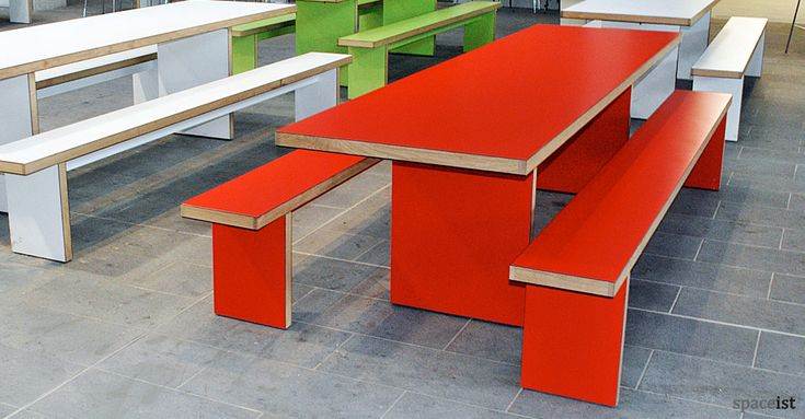 JB red school canteen table and benches for Bishop Ramsey School canteen area.