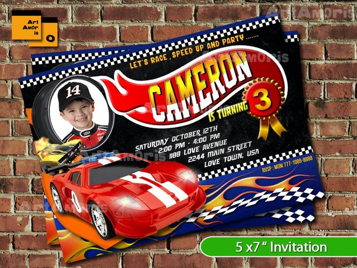 Best Jakes Th Birthday Party Ideas Images On Pinterest Hot - Homemade hot wheels birthday invitations