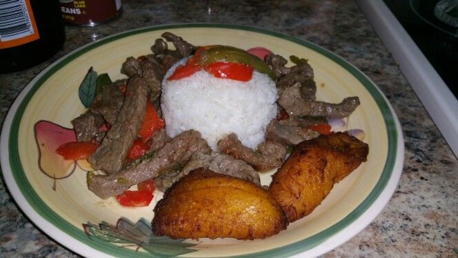 Pepper Steak And white rice y maduros