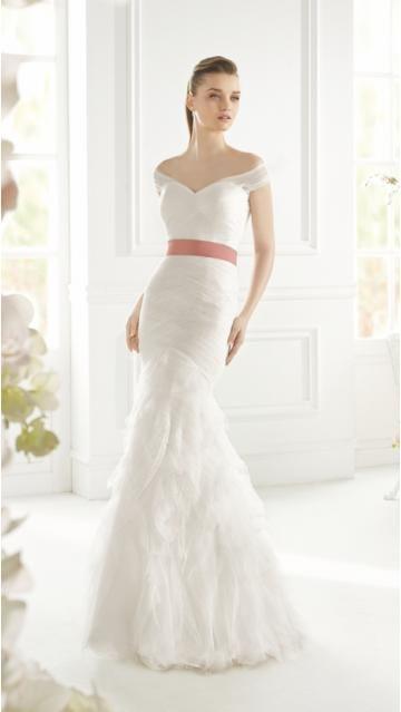 Robe de mariée 2015 sirène v-cou organza avec une belle ceinture