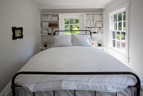 For the expected downsizing of the master bedroom -- I like this. They left room on both sides of the bed which makes making it and getting in and out of it easy and they still have storage and light. Since we won't give up the king size bed, possibility here is good.