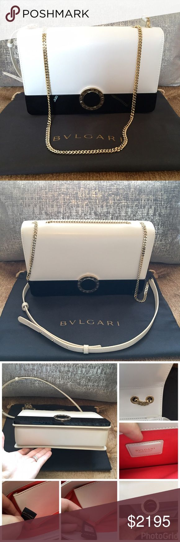 "Bvlgari Flap Cover Black and White Shoulder Bag Gorgeous Unique Bvlgari ""Bulgari Bulgari"" Flap cover two-tone black and white calf leather with brass light gold plated metal parts. Black 'Perspicio' bar, iconic double logo motif and magnetic closure finish in black enamel. Adjustable leather and chain strap sliding for different ways of wear. White leather has a slight shine for a chyc look. Medium model. Excellent condition with minor wear to leather. Please view photos. Comes with dustbag…"