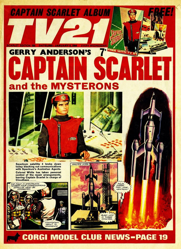 City Magazines Ltd. TV21 family tree. A short lived series of comics based on TV and film programmes from the 1960′s. TV Century 21, later TV21 (1965-1971) was mainly Gerry Anderson's supermarionation strips with some American TV shows. Solo (1967) was mainly Disney shows. TV Tornado (1967-1968) had mainly American TV action strips and Joe 90 (1969) which had Star Trek, Land of the Giants, The Champions and Anderson's Joe90.