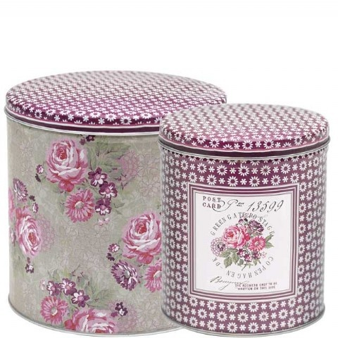 Pretty Plum Tin containers by Greengate  Pretty storage solutions  for your kitchen or bathroom  Set of 2 Tins. Largest is 13.5 cm x 13.5cm