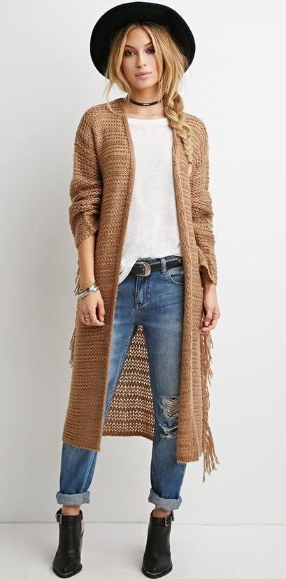 boho style addict   hat + white t-shirt + knit cardi + rips + boots