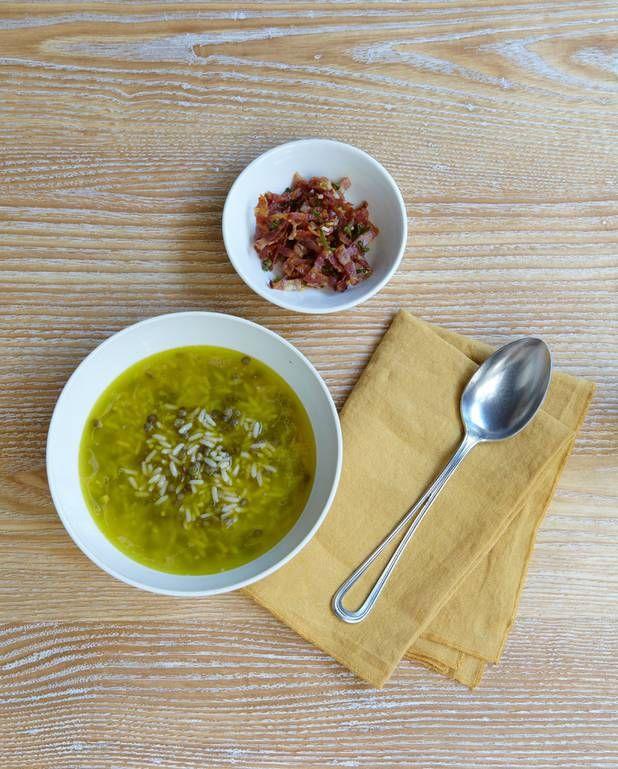 Velouté de riz et lentilles, lardons persillés pour 4 personnes - Recettes Elle à Table