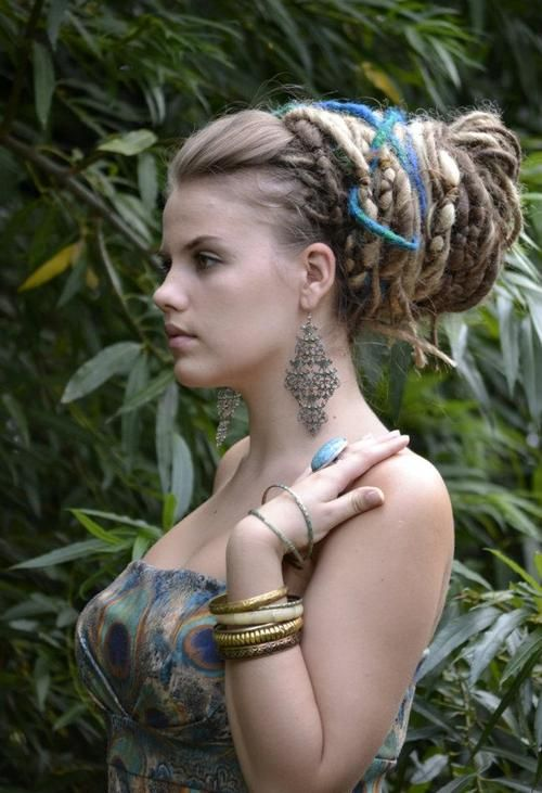 dreads in an elegant bun. Great idea for formal events.
