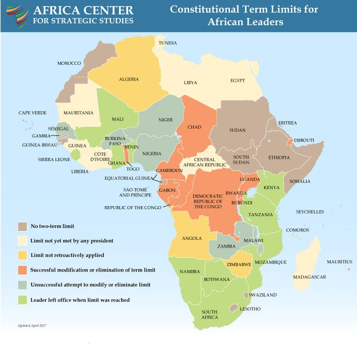 The Impact of Presidential Term Limits in Africa[814*793] : MapPorn