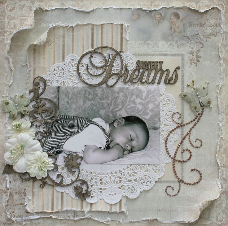 Sweet Dreams ~ Vintage style baby page with a monochromatic color palette, distressed edging and beaded flourishes.