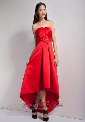 Red Bridesmaid Dress A-line Appliques High-low