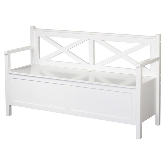 Decorative Storage Bench   White