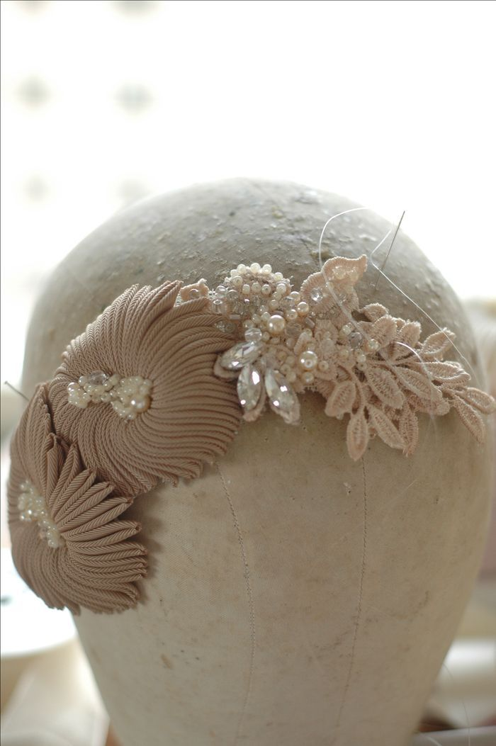 working on a headpiece in nude colour www.parantparant.se #millinery #judithm #hats