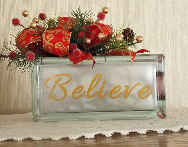 Glass Block Craft Ideas For Christmas Part - 39: Lighted Glass Block W/Vinyl Lettering. $25.00, Via Etsy.