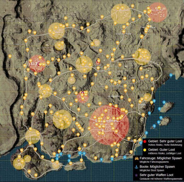 PUBG - All High / Medium Loot and Car Spots in the Desert