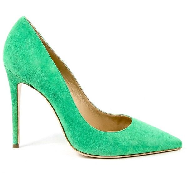 Andrew Charles Womens Pump Green Linda (£170) ❤ liked on Polyvore featuring shoes, pumps, green, high heel court shoes, suede shoes, high heeled footwear, green suede shoes and high heel pumps