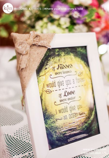 Wedding love quoted decorated with burlap
