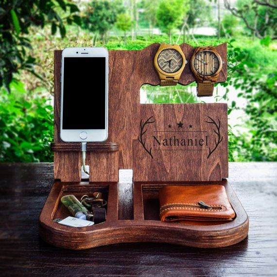 Personalized Docking Station Desk Organize, Charging Station, Phone Stand, Original Handmade Gift is for Men, Father, Brother …