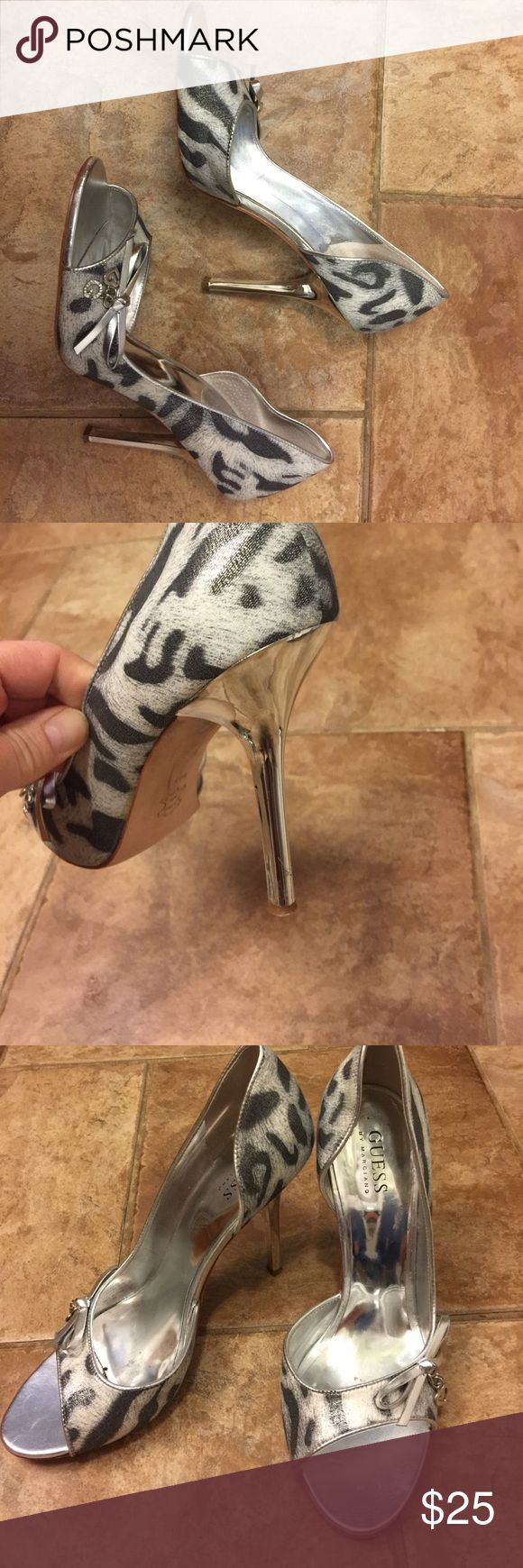 Guess by Marciano silver cheetah heel Open toe silver cheetah heel with solid silver heel  very comfortable  really fun shoe with any color outfit Guess by Marciano Shoes Heels