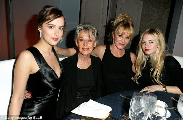 It's all relative: Melanie Griffith enjoyed a night out with her nearest and dearest on Mo...