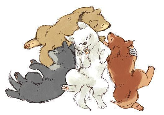 Awwww! Kiba, Tsume, Hige, Toboe... as pups!