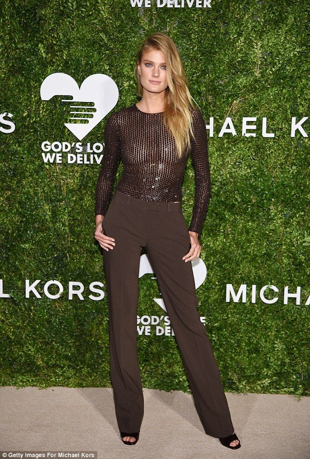 Sheer delight: Constance Jablonski looked likely to set hearts racing as she arrived in a see-through top at the Golden Heart Awards in New York on Monday