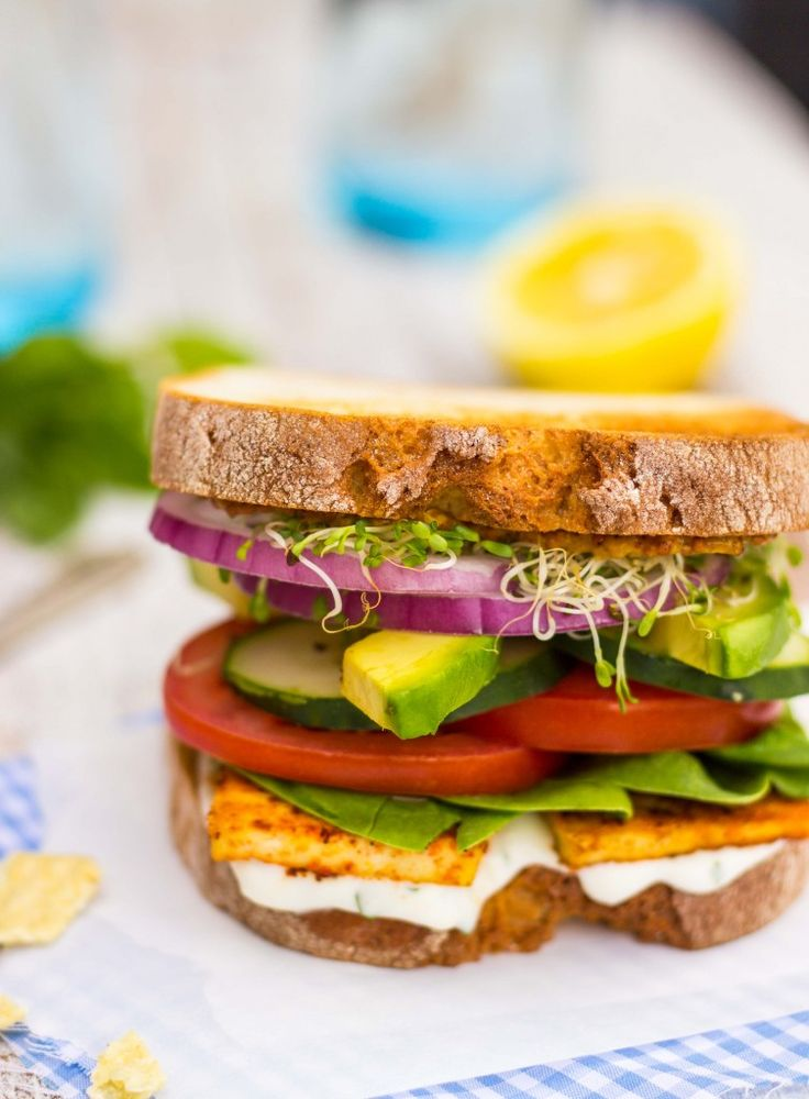 Ultimate Veggie Sandwich with Smokey Tofu & Lemon Basil Mayo - She Likes Food